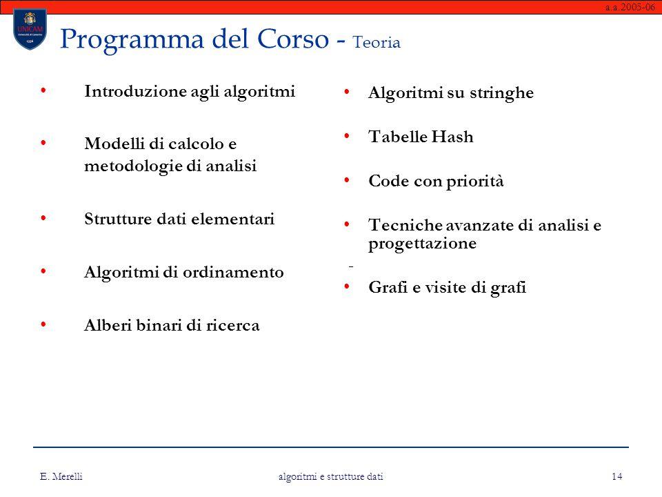 Programma del Corso - Teoria