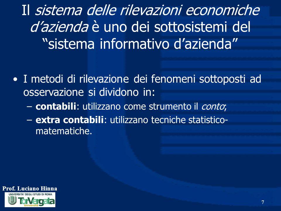 Il sistema delle rilevazioni economiche d'azienda è uno dei sottosistemi del sistema informativo d'azienda