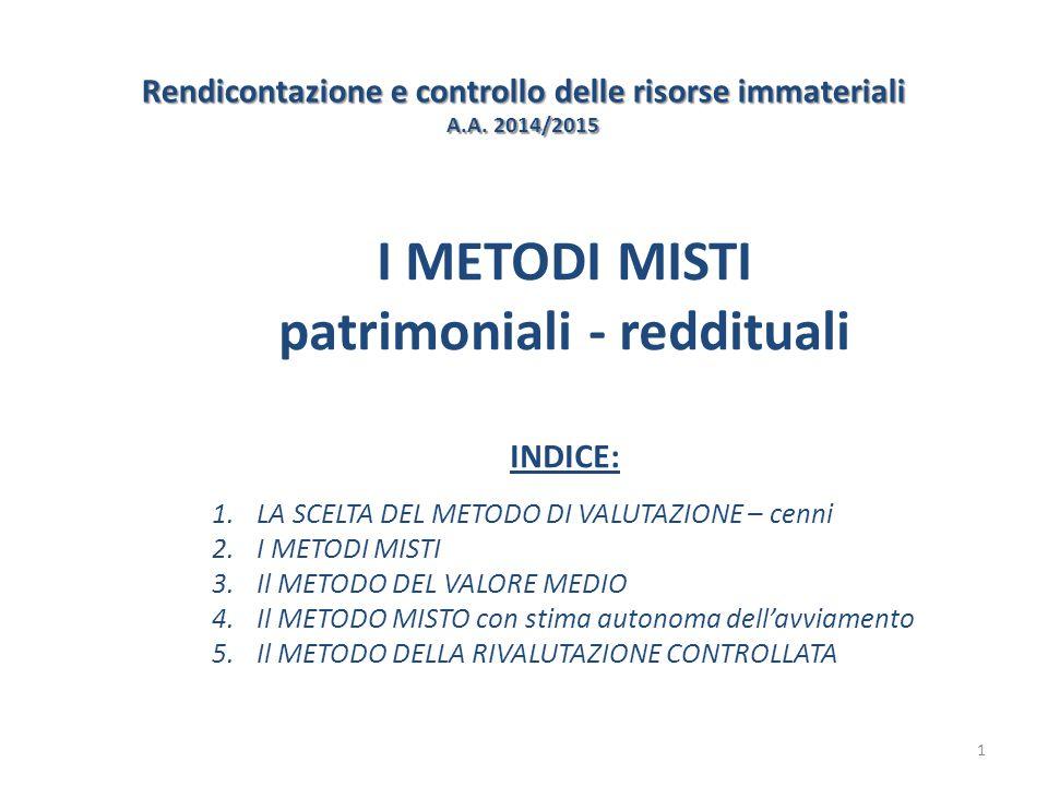 Rendicontazione e controllo delle risorse immateriali A.A. 2014/2015