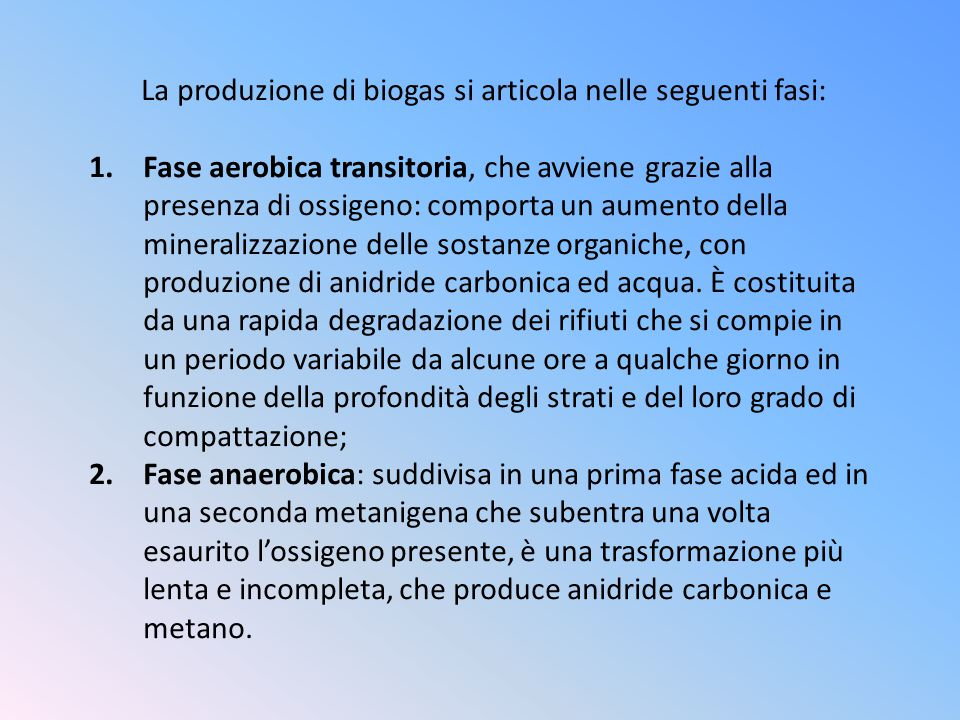 La produzione di biogas si articola nelle seguenti fasi: