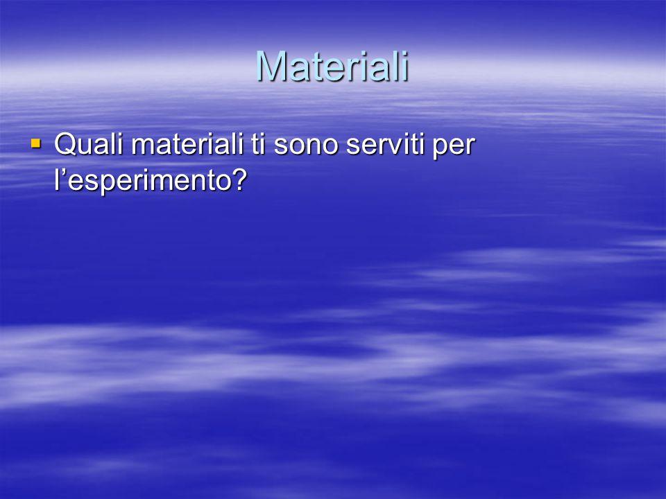Materiali Quali materiali ti sono serviti per l'esperimento