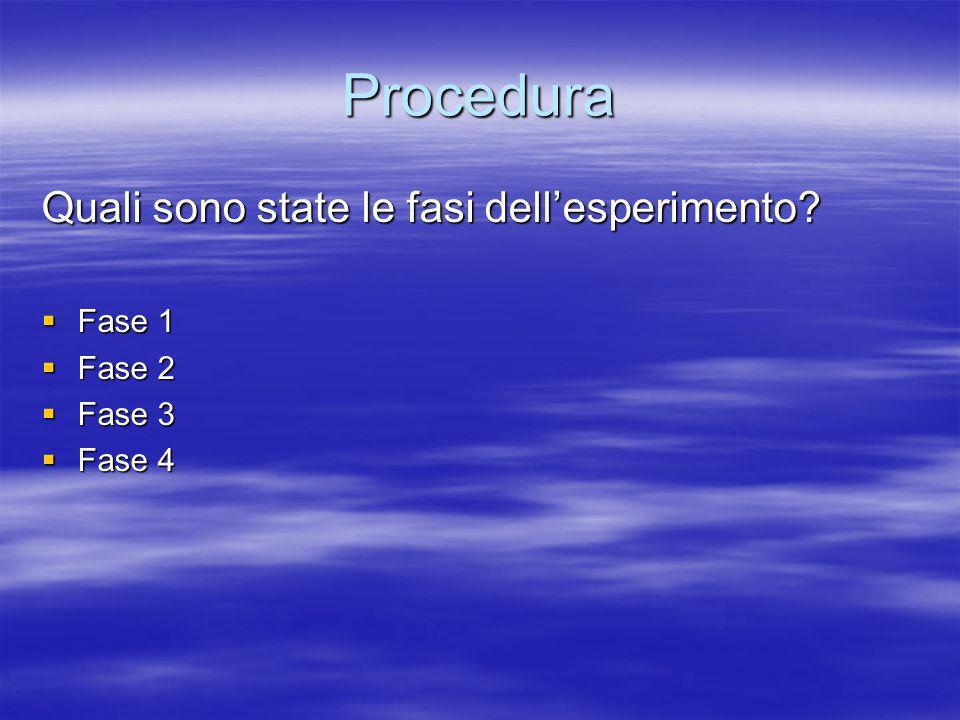 Procedura Quali sono state le fasi dell'esperimento Fase 1 Fase 2