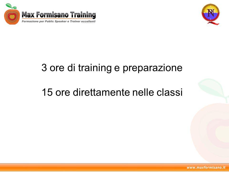 3 ore di training e preparazione 15 ore direttamente nelle classi