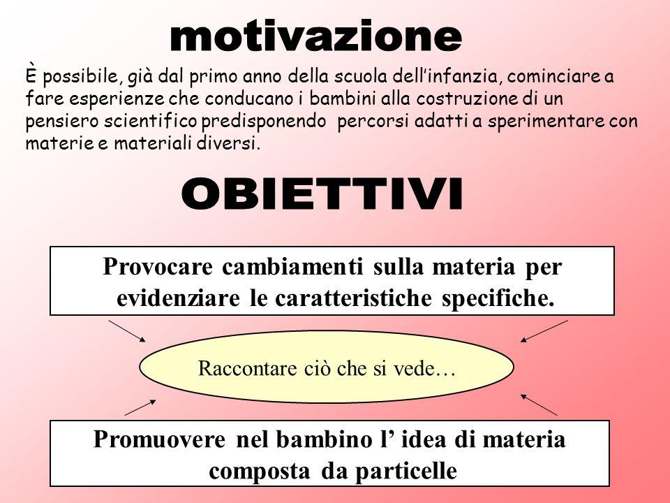 motivazione OBIETTIVI Provocare cambiamenti sulla materia per