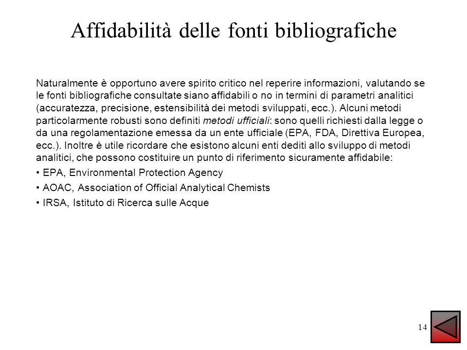 Affidabilità delle fonti bibliografiche