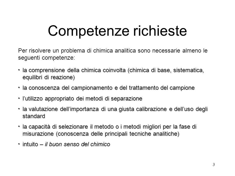 Competenze richieste Per risolvere un problema di chimica analitica sono necessarie almeno le seguenti competenze: