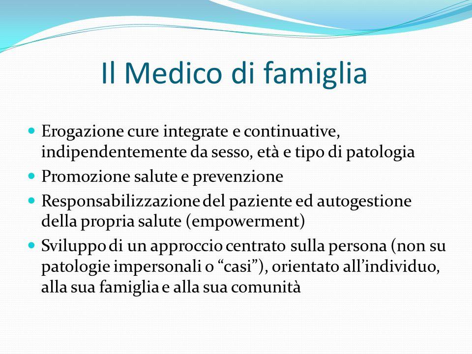 Il Medico di famiglia Erogazione cure integrate e continuative, indipendentemente da sesso, età e tipo di patologia.