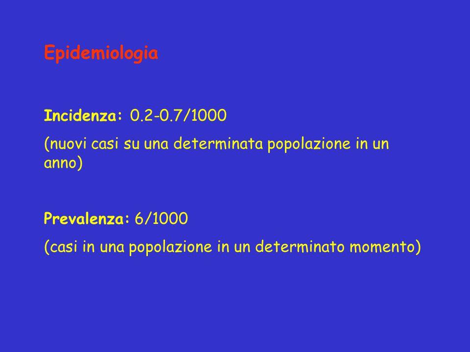 Epidemiologia Incidenza: 0.2-0.7/1000