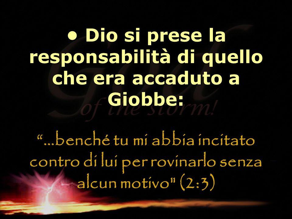• Dio si prese la responsabilità di quello che era accaduto a Giobbe: …benché tu mi abbia incitato contro di lui per rovinarlo senza alcun motivo (2:3)