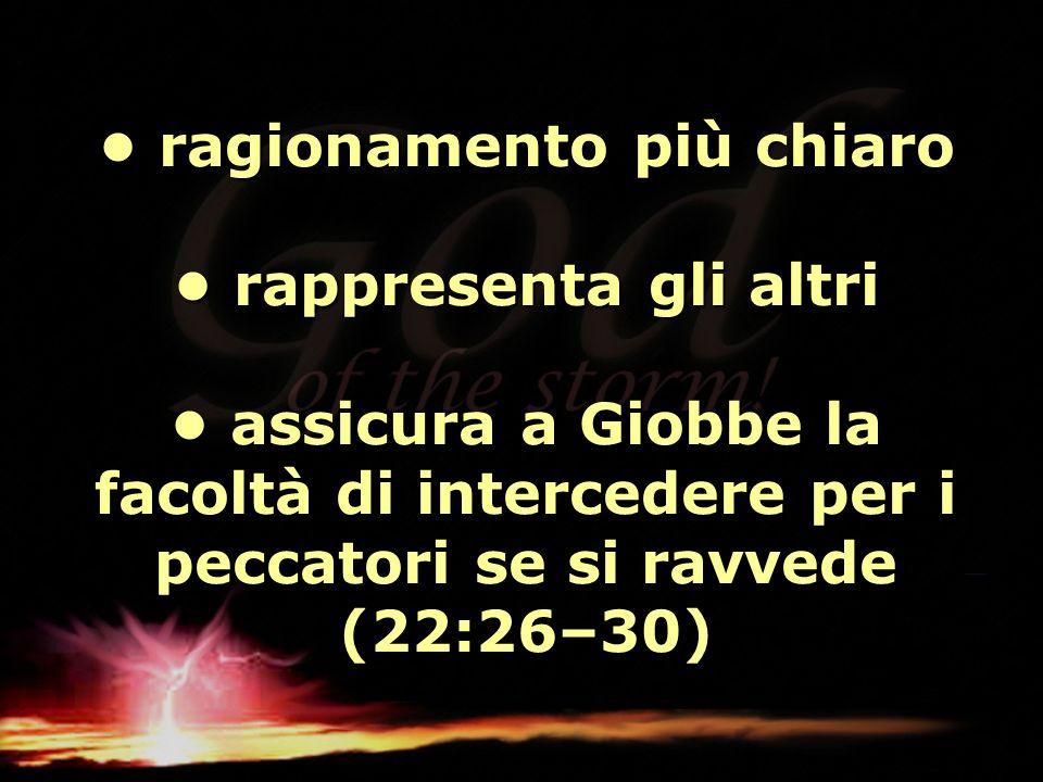 • ragionamento più chiaro • rappresenta gli altri • assicura a Giobbe la facoltà di intercedere per i peccatori se si ravvede (22:26–30)