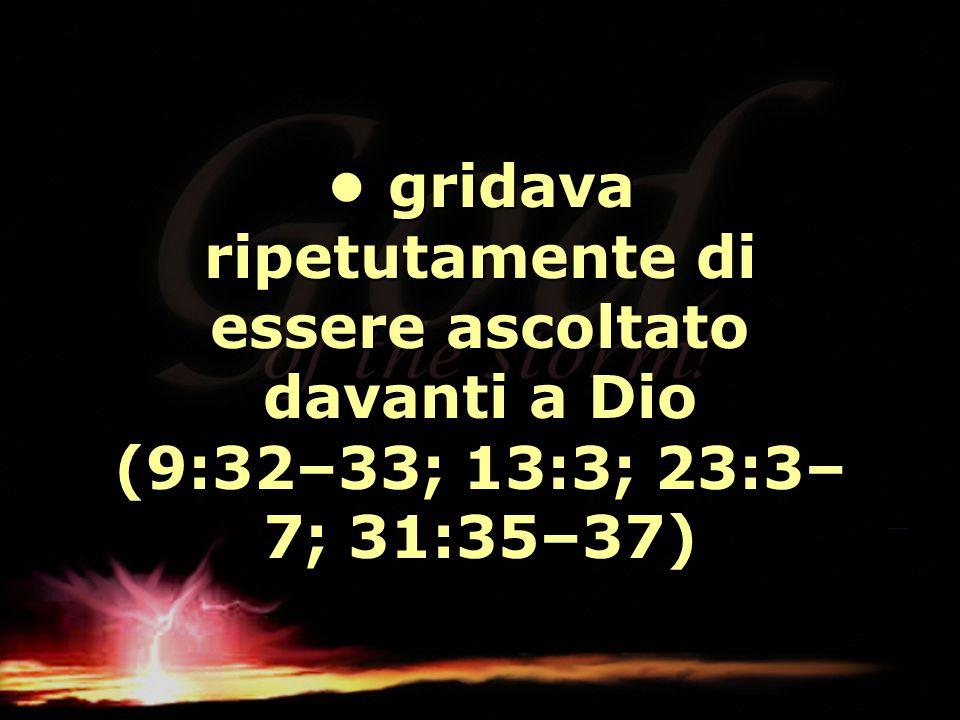 • gridava ripetutamente di essere ascoltato davanti a Dio (9:32–33; 13:3; 23:3–7; 31:35–37)