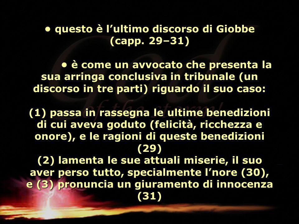 • questo è l'ultimo discorso di Giobbe (capp. 29–31)