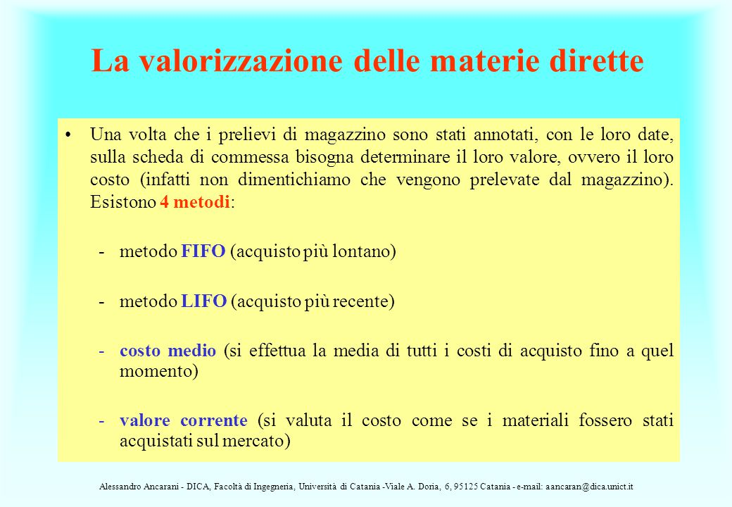 La valorizzazione delle materie dirette
