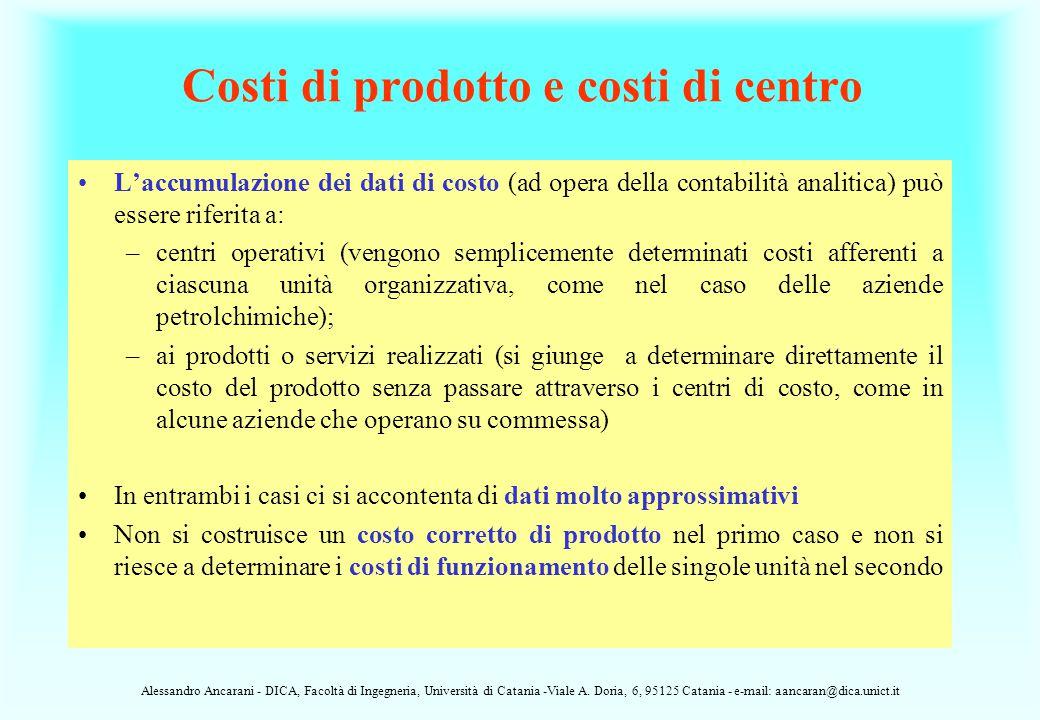 Costi di prodotto e costi di centro