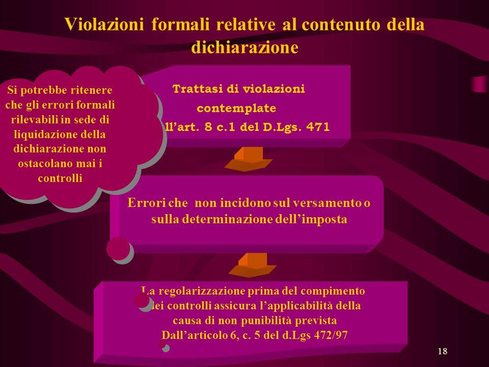 Violazioni formali relative al contenuto della dichiarazione