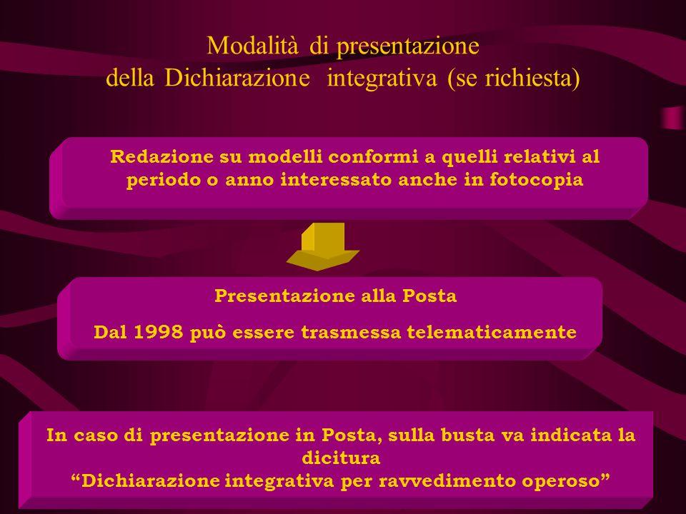Modalità di presentazione della Dichiarazione integrativa (se richiesta)