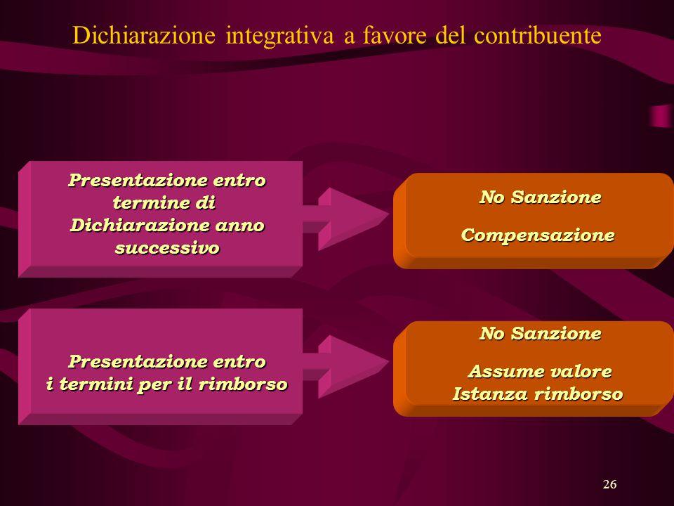 Dichiarazione integrativa a favore del contribuente