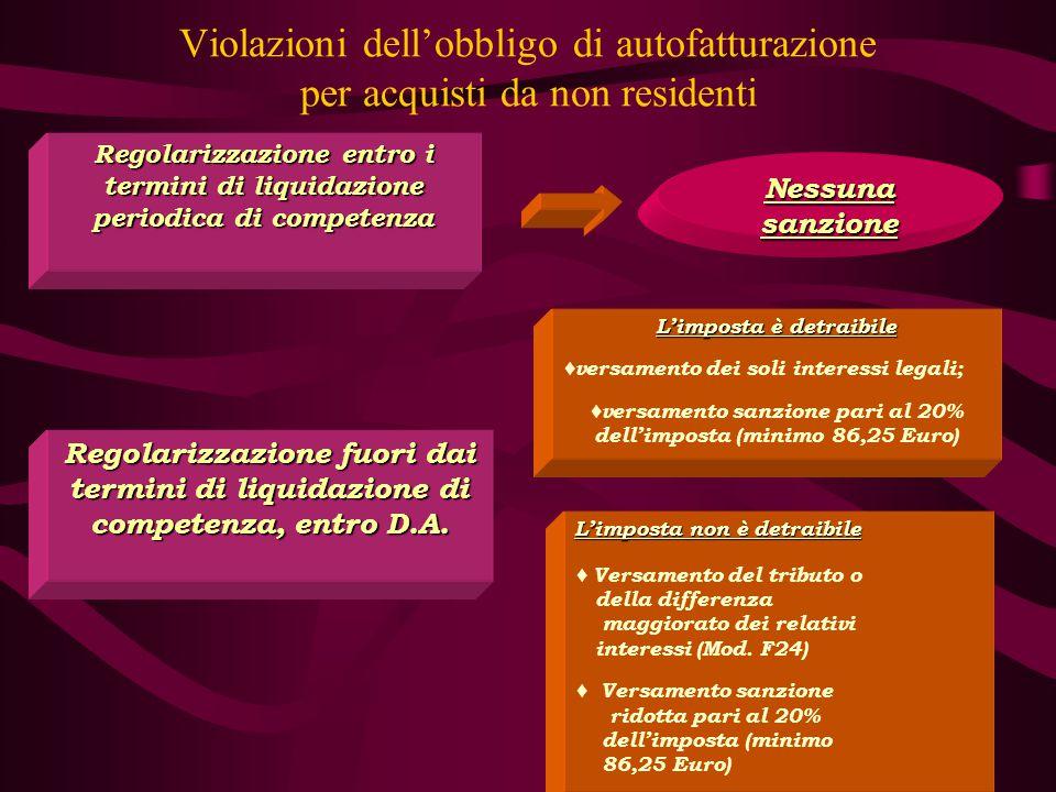 Violazioni dell'obbligo di autofatturazione per acquisti da non residenti