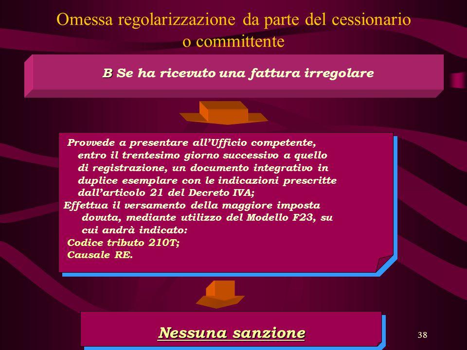 Omessa regolarizzazione da parte del cessionario o committente