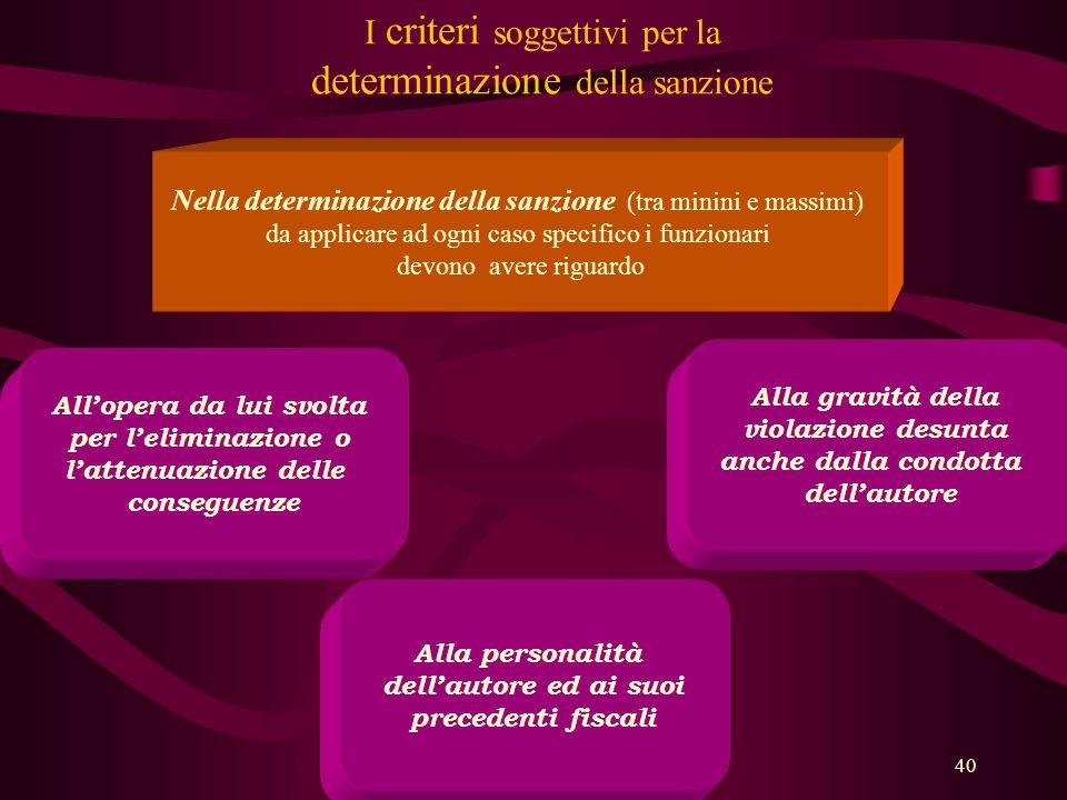I criteri soggettivi per la determinazione della sanzione