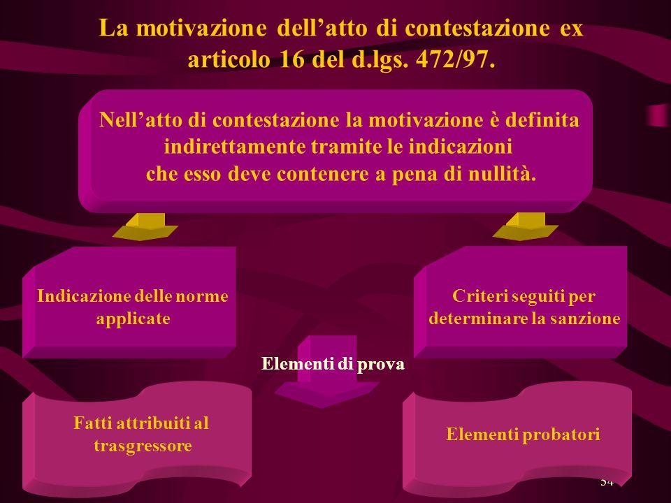 La motivazione dell'atto di contestazione ex articolo 16 del d. lgs