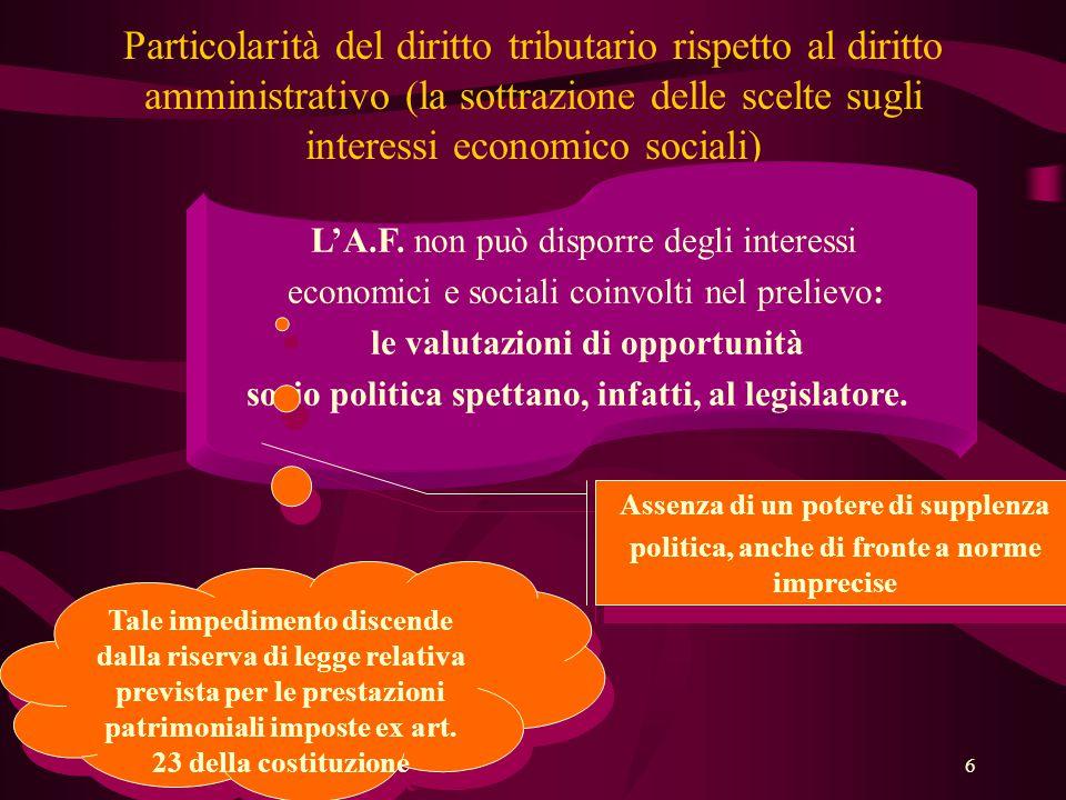 Particolarità del diritto tributario rispetto al diritto amministrativo (la sottrazione delle scelte sugli interessi economico sociali)