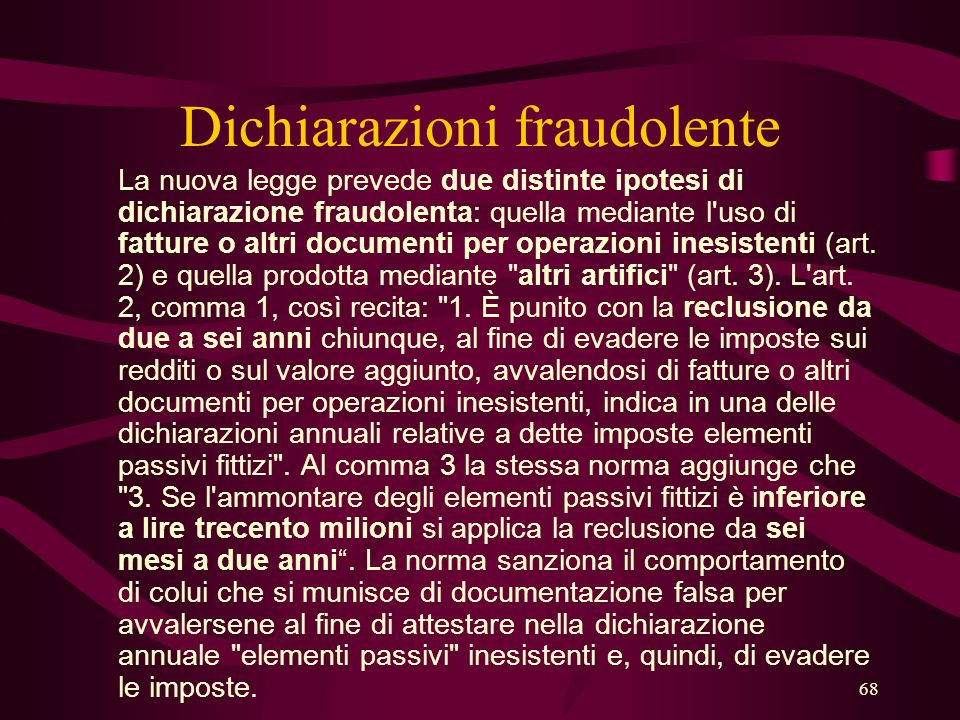Dichiarazioni fraudolente