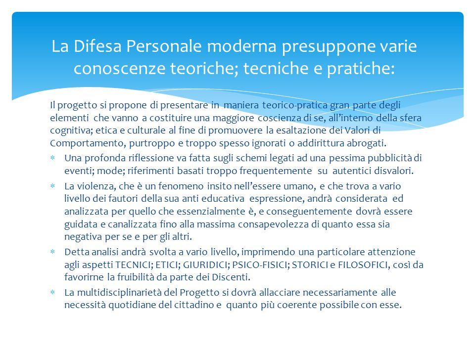 La Difesa Personale moderna presuppone varie conoscenze teoriche; tecniche e pratiche:
