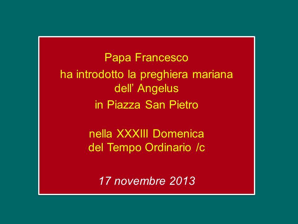 Papa Francesco ha introdotto la preghiera mariana dell' Angelus in Piazza San Pietro nella XXXIII Domenica del Tempo Ordinario /c 17 novembre 2013