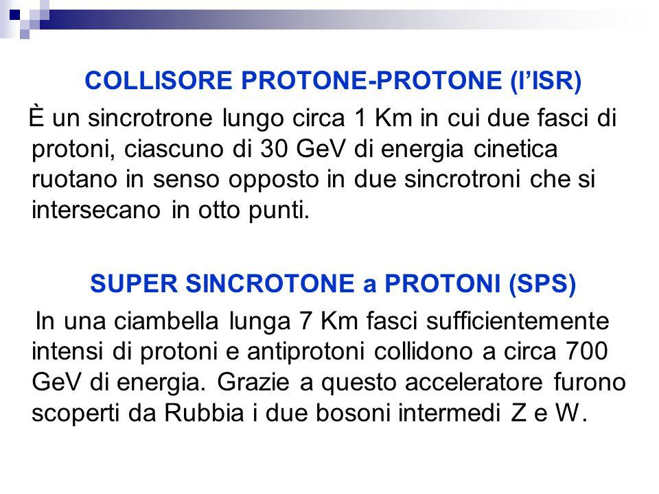 COLLISORE PROTONE-PROTONE (l'ISR) SUPER SINCROTONE a PROTONI (SPS)