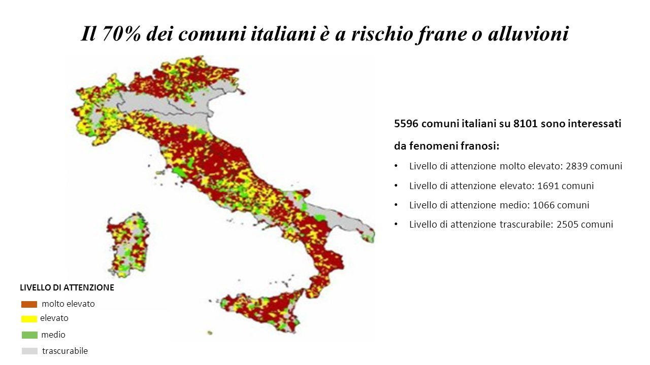 Il 70% dei comuni italiani è a rischio frane o alluvioni