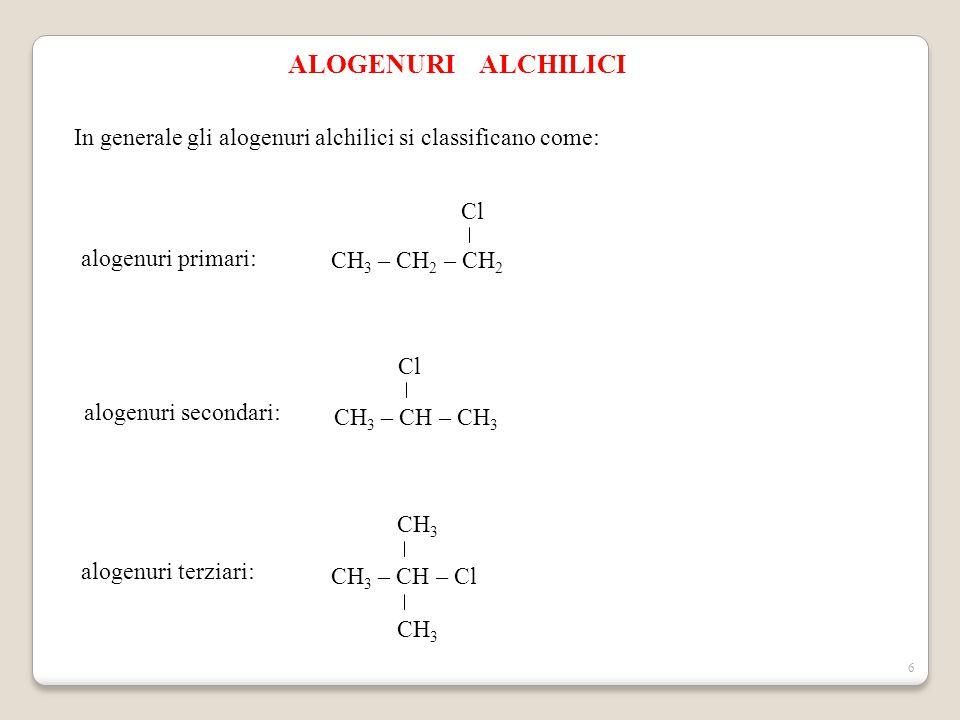 ALOGENURI ALCHILICI In generale gli alogenuri alchilici si classificano come: CH3 – CH2 – CH2. Cl.