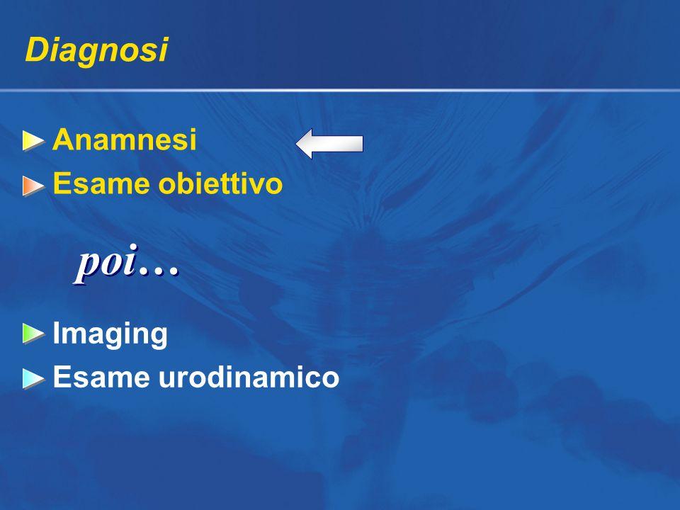 Diagnosi Anamnesi Esame obiettivo poi… Imaging Esame urodinamico