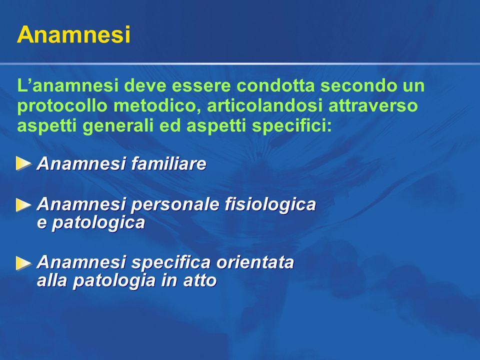 Anamnesi L'anamnesi deve essere condotta secondo un protocollo metodico, articolandosi attraverso aspetti generali ed aspetti specifici: