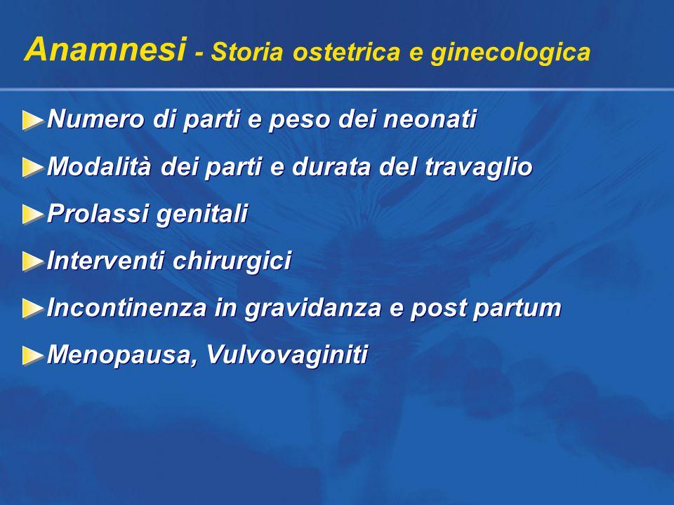 Anamnesi - Storia ostetrica e ginecologica