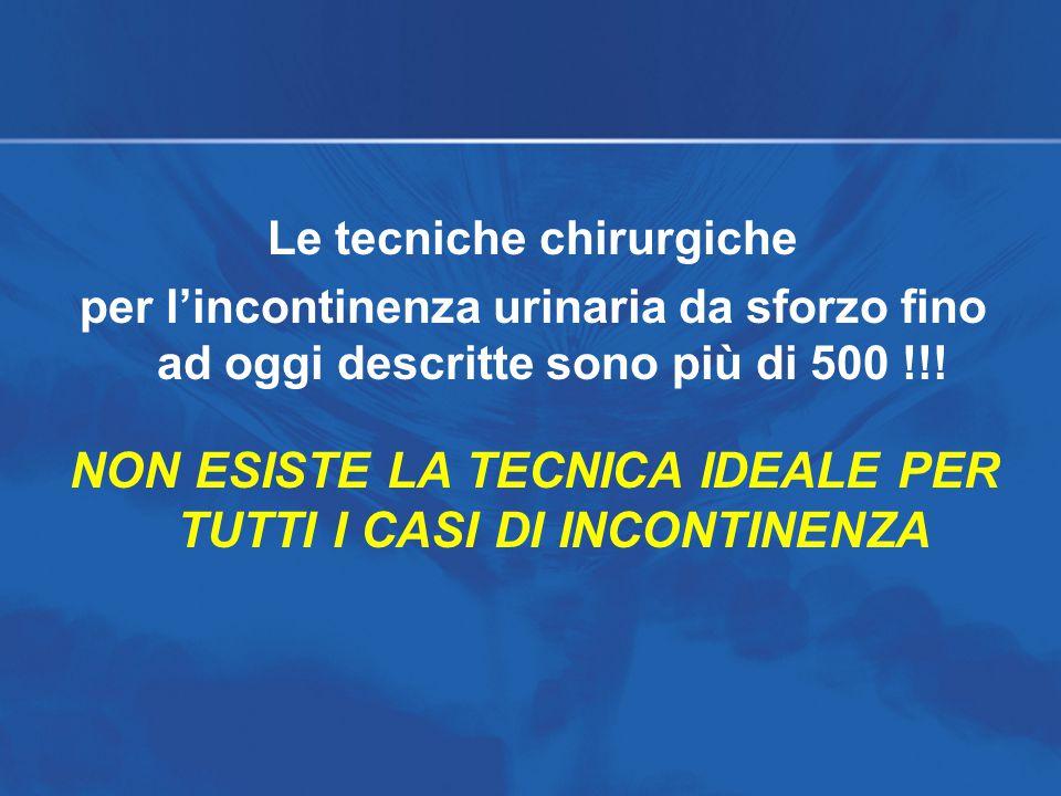 NON ESISTE LA TECNICA IDEALE PER TUTTI I CASI DI INCONTINENZA