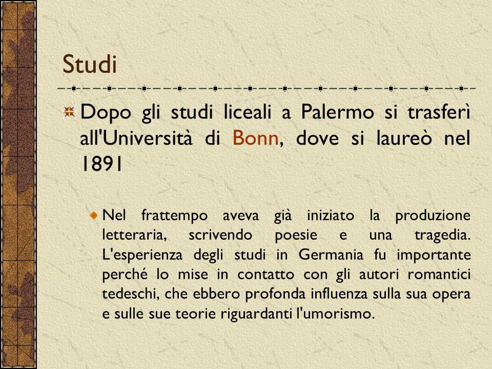 Studi Dopo gli studi liceali a Palermo si trasferì all Università di Bonn, dove si laureò nel 1891.