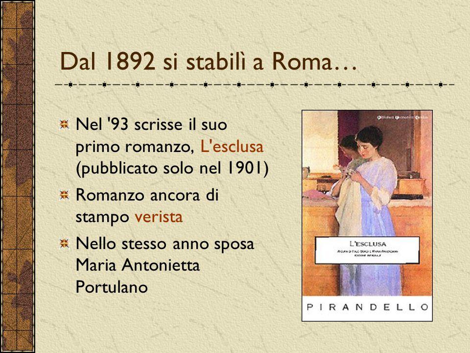 Dal 1892 si stabilì a Roma… Nel 93 scrisse il suo primo romanzo, L esclusa (pubblicato solo nel 1901)