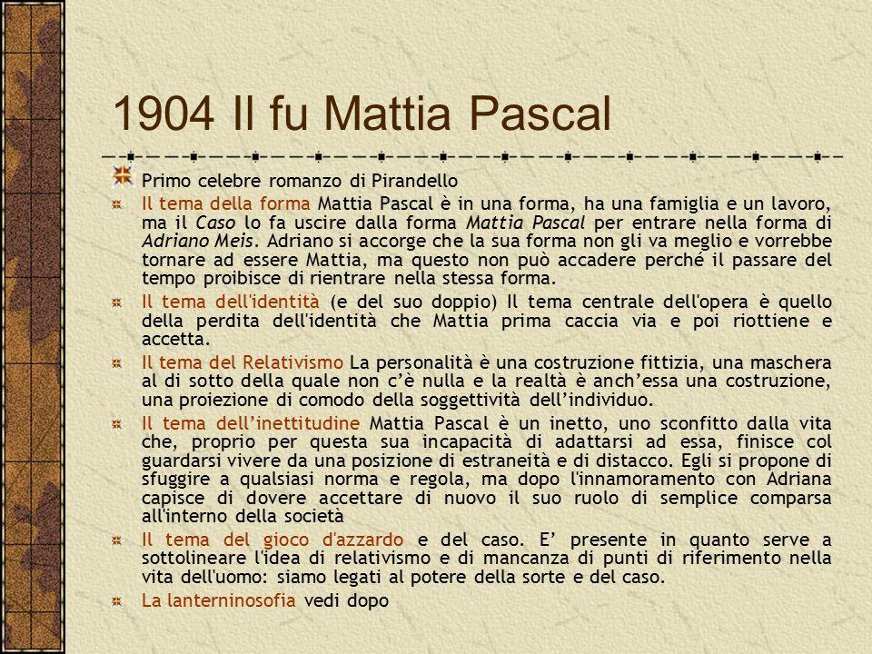 1904 Il fu Mattia Pascal Primo celebre romanzo di Pirandello