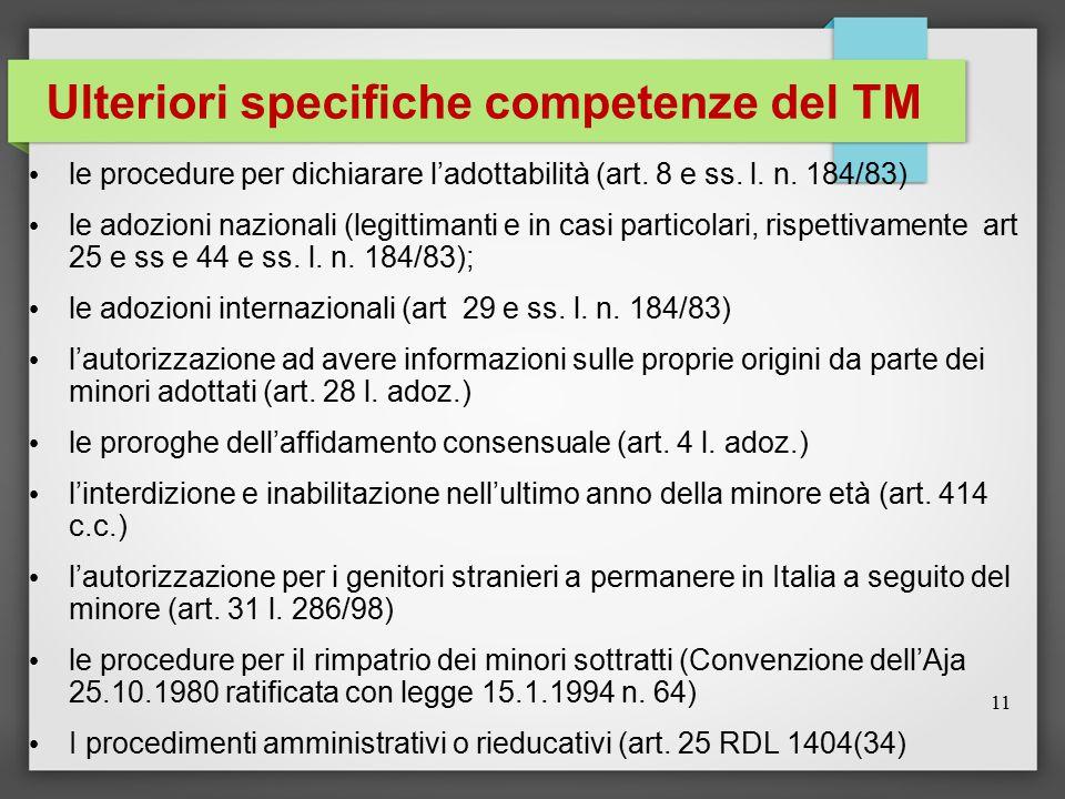 Ulteriori specifiche competenze del TM