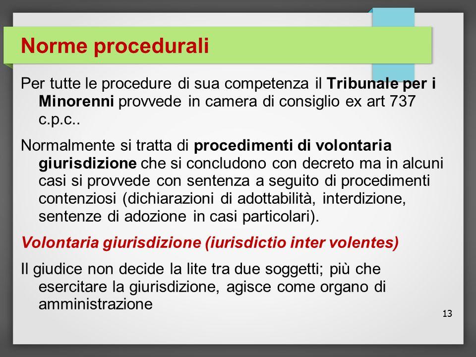 Norme procedurali Per tutte le procedure di sua competenza il Tribunale per i Minorenni provvede in camera di consiglio ex art 737 c.p.c..