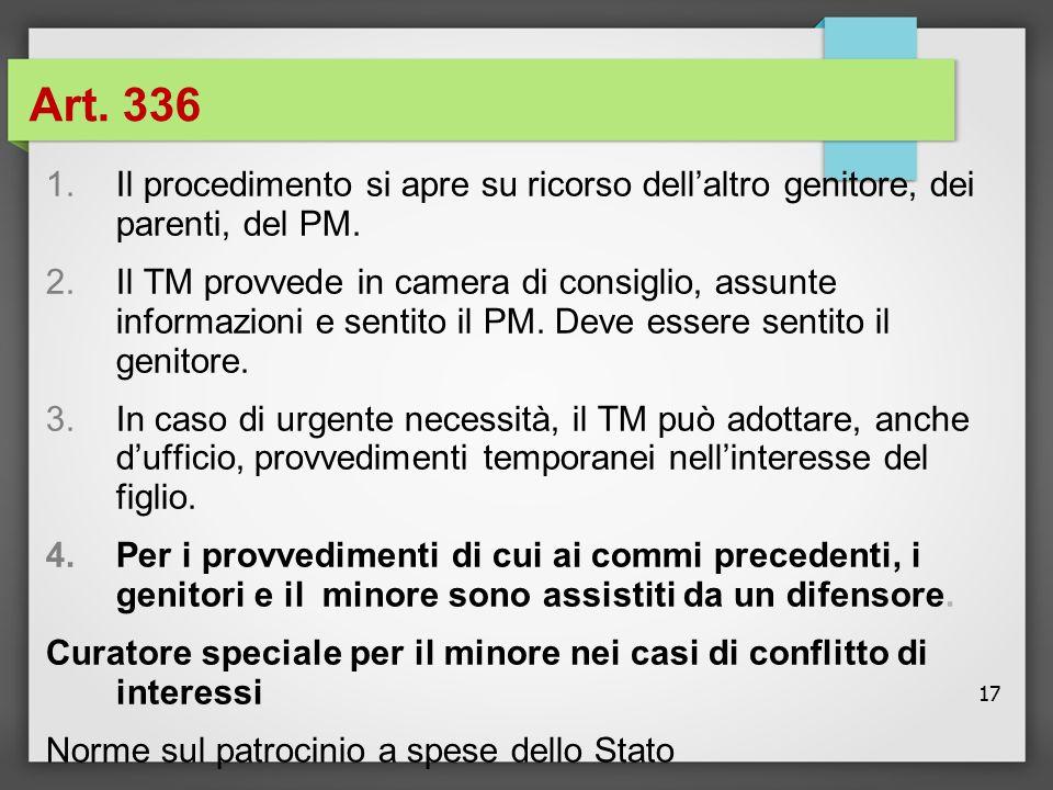 Art. 336 Il procedimento si apre su ricorso dell'altro genitore, dei parenti, del PM.