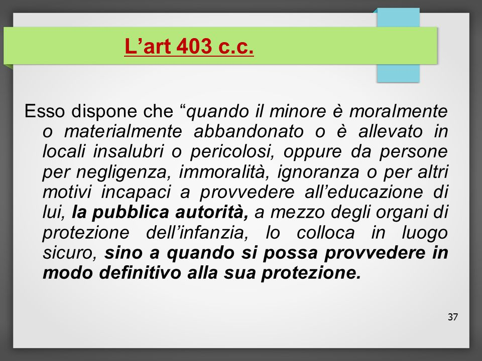 L'art 403 c.c.