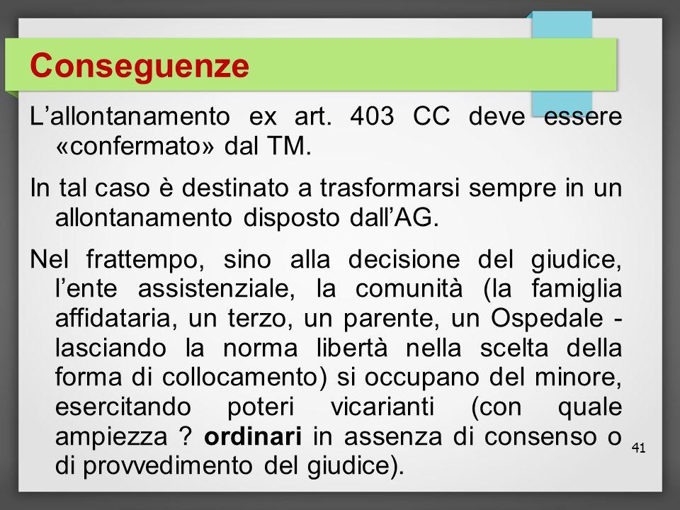 Conseguenze L'allontanamento ex art. 403 CC deve essere «confermato» dal TM.