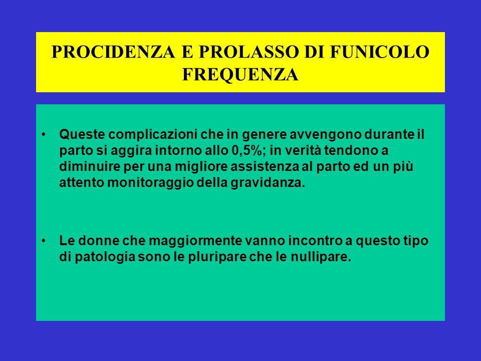 PROCIDENZA E PROLASSO DI FUNICOLO FREQUENZA