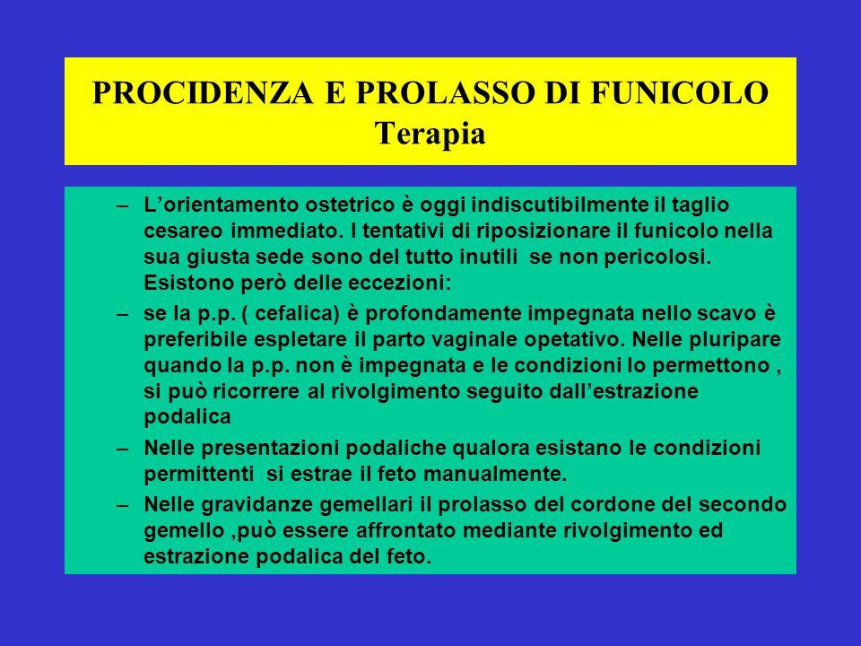 PROCIDENZA E PROLASSO DI FUNICOLO Terapia