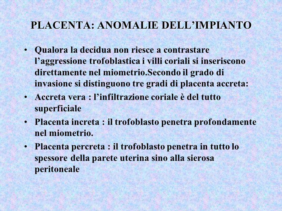 PLACENTA: ANOMALIE DELL'IMPIANTO