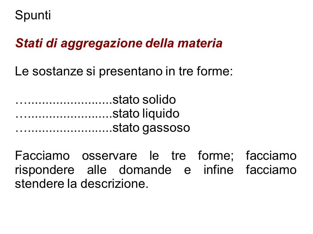 Spunti Stati di aggregazione della materia. Le sostanze si presentano in tre forme: …........................stato solido.