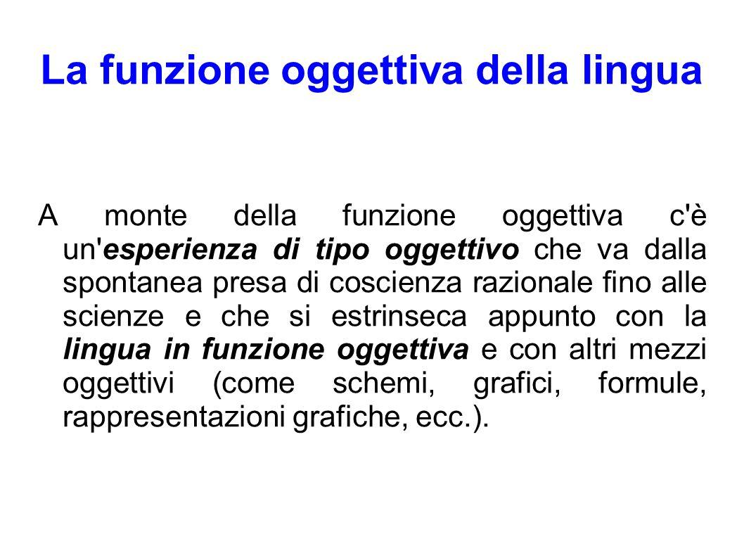 La funzione oggettiva della lingua