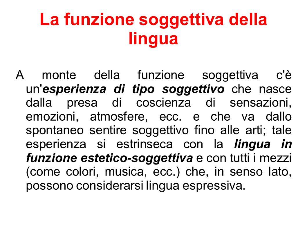 La funzione soggettiva della lingua